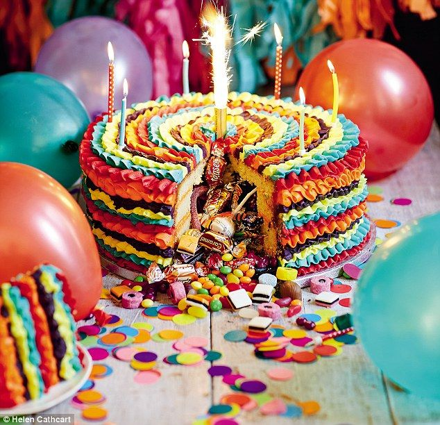 Pinata cake with sponge outside and sweets INSIDE is new