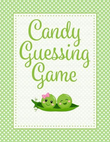 Candy Guessing Game   PRINTABLE DOWNLOAD   Boy Girl Twins   Peas In A Pod Baby  Shower Game   B29003