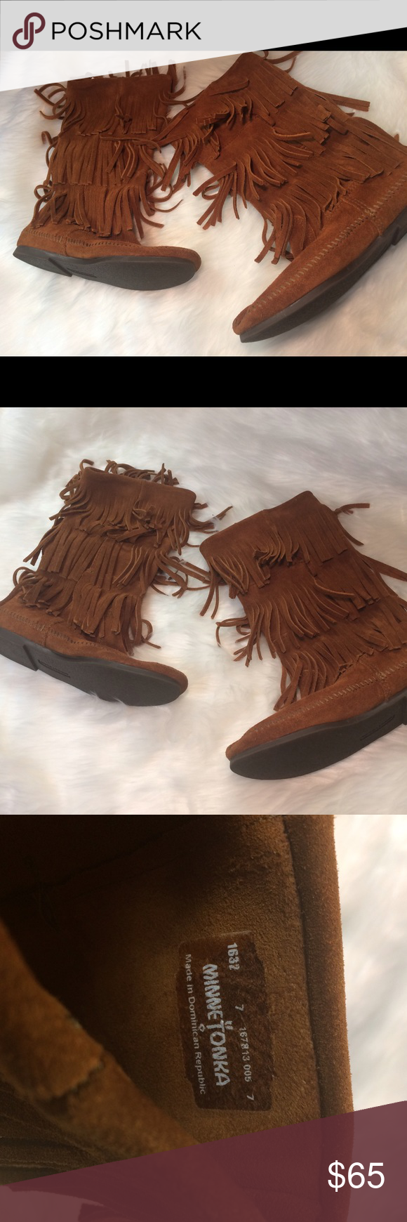 Brown Minnetonka Moccasins Boots 3 Layer Fringe 7 Good condition. Minimal wear/staining. Minnetonka Shoes Moccasins
