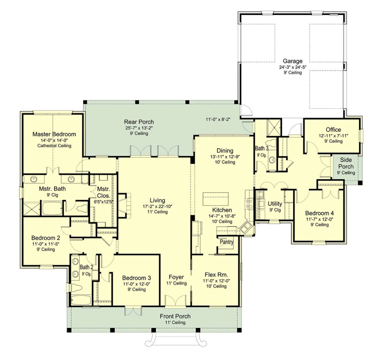 House Plan 7516 00048 French Country Plan 2 671 Square Feet 4 Bedrooms 3 Bathrooms In 2021 Garage Floor Plans House Plans Floor Plans
