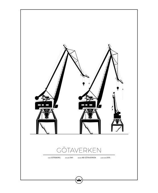karta skandiahamnen göteborg Posters Av Götaverkens Kranar   Göteb  50x70 Cm | Gothenburg  karta skandiahamnen göteborg