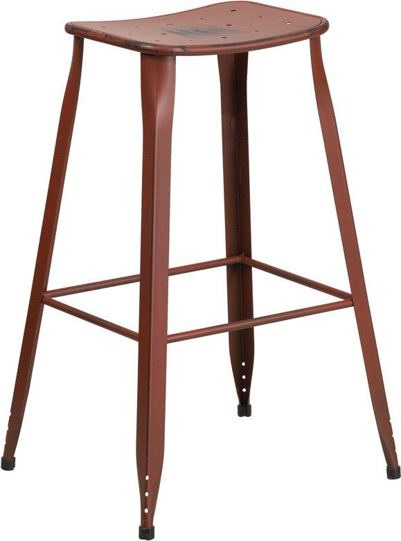 Saddle Seat 30 High Distressed Kelly Red Metal Indoor Outdoor Bar St Restaurant Furniture Plus