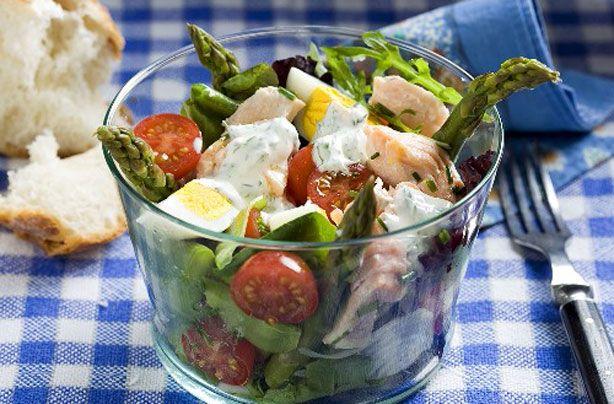 Salmon, egg and asparagus salad