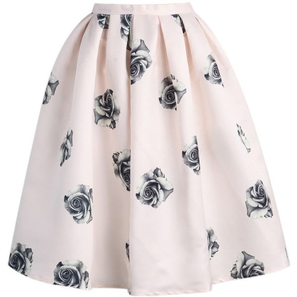 Choies Pink Rose in Black Print Silky Skater Skirt ($20) ❤ liked on Polyvore featuring skirts, pink, pink circle skirt, patterned skater skirt, pattern skirt, black flared skirt and black skirt