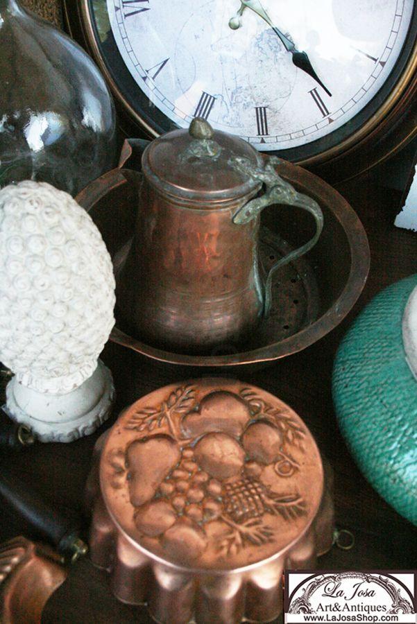Reloj y objetos de cobre antiguos y vintage a la venta en la josa shop para decorar tu cocina - Objetos fabricados con cobre ...