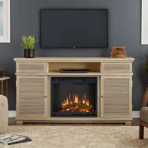 Electric Fireplace Entertainment Center TV Stand Heater Media Storage  Shelves
