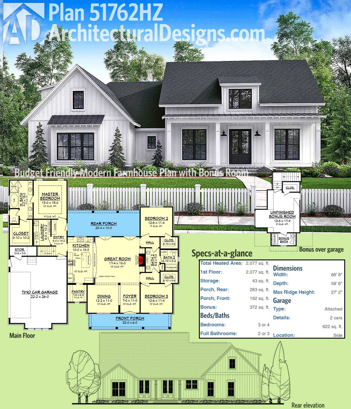 Plan 51762hz budget friendly modern farmhouse plan with for Double garage with room above plans