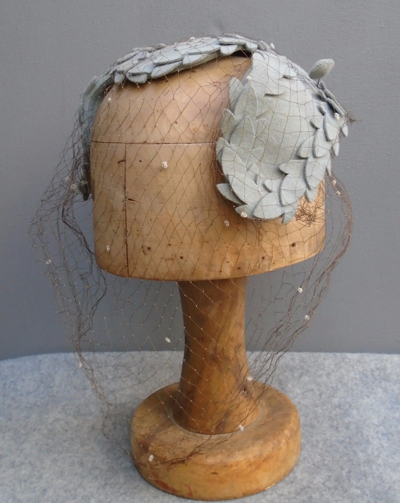 Superb Original Vtg 1940s WW2 Grey Felt Fascinator Hat Pin Juliet ...