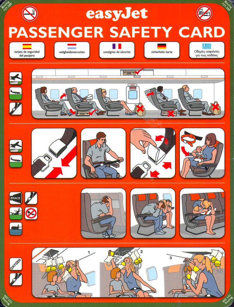 Jet2.com Boeing 737-300 Safety On Board Card Issue 2