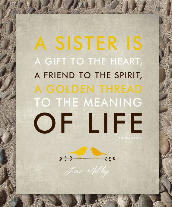 Sisters Gift Print Personalized For Your Sister Wedding Birthday Custom Colors 8 X 10