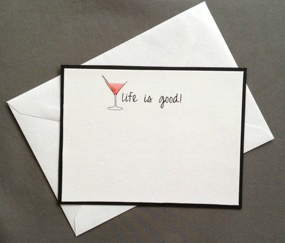 Martini Cocktail Flat Notecards and Stationery Set Pack of 6 on Etsy, $15.00
