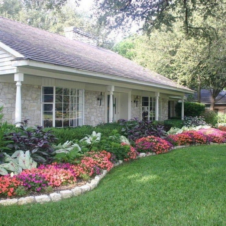 ✓ 53 beautiful flower beds in front of house design ideas ...