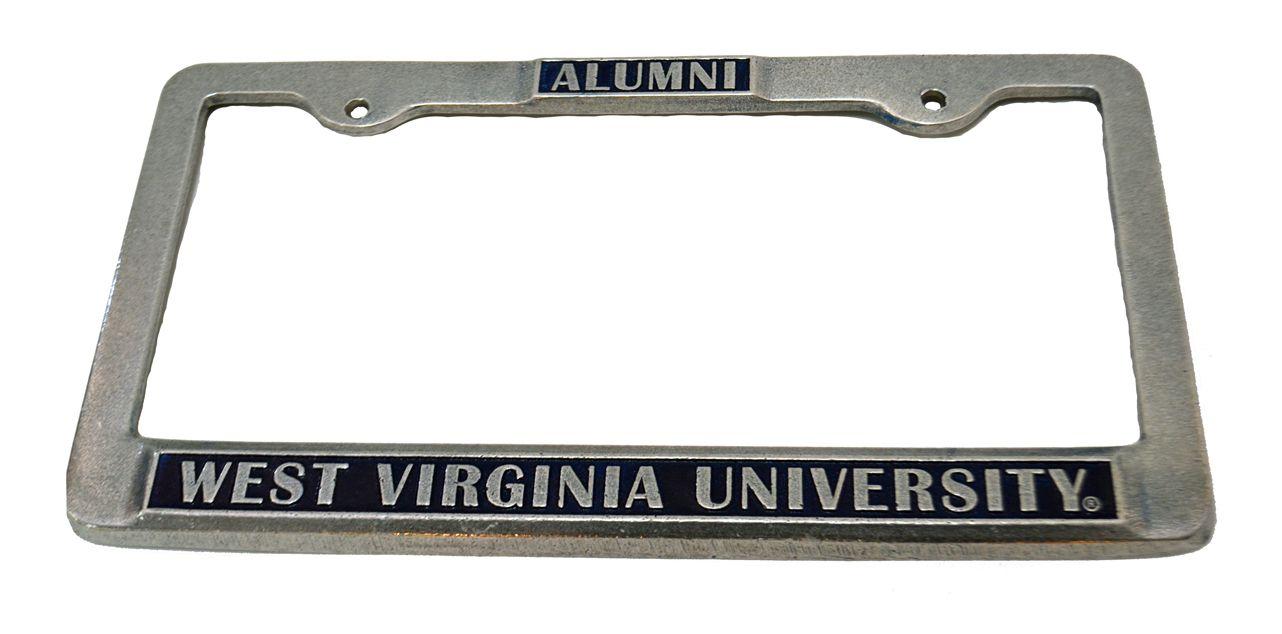 Alumni Pewter License Plate Frame Navy Bookexchangewv