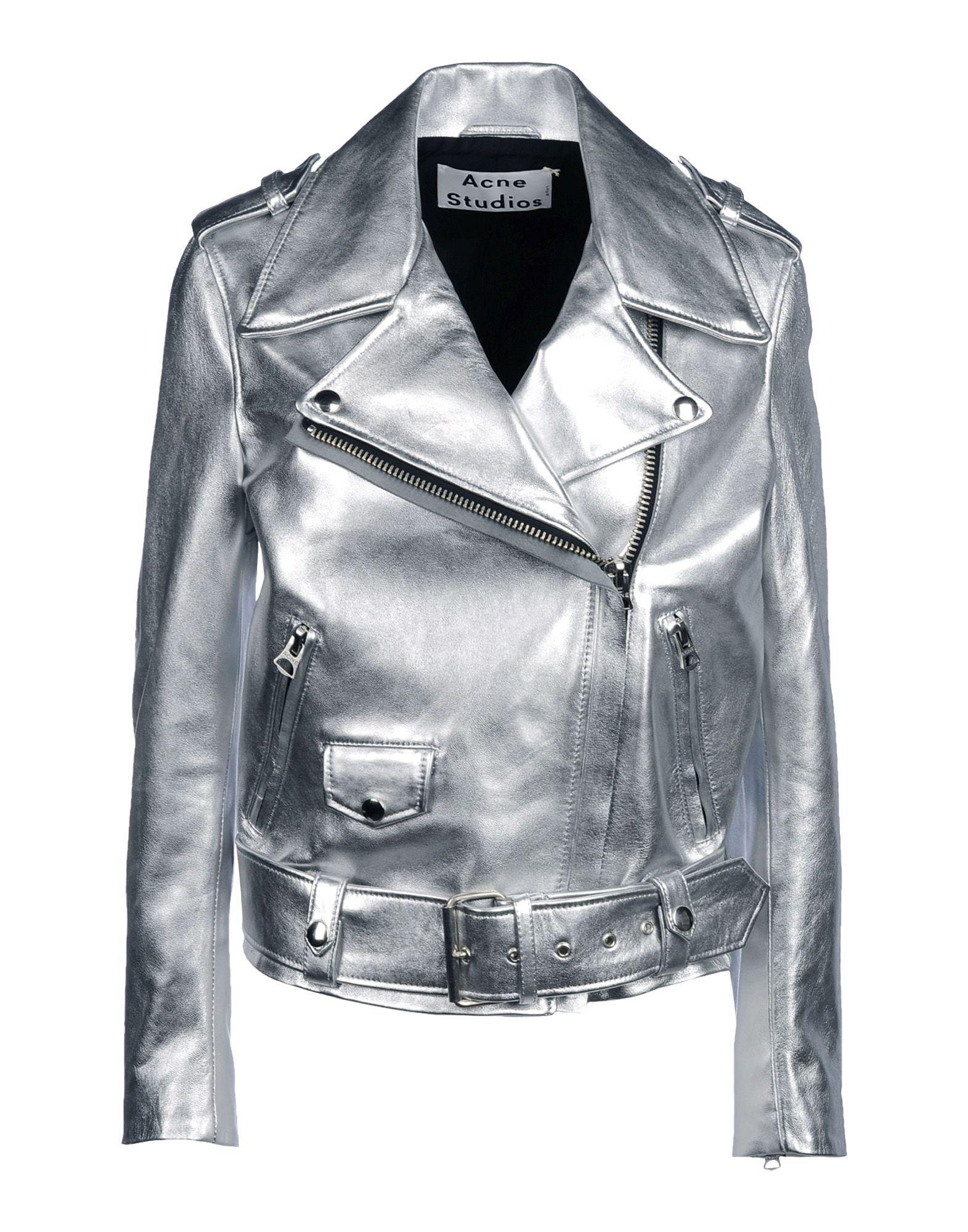 Metallic leather jacket by ACNE STUDIOS silver biker