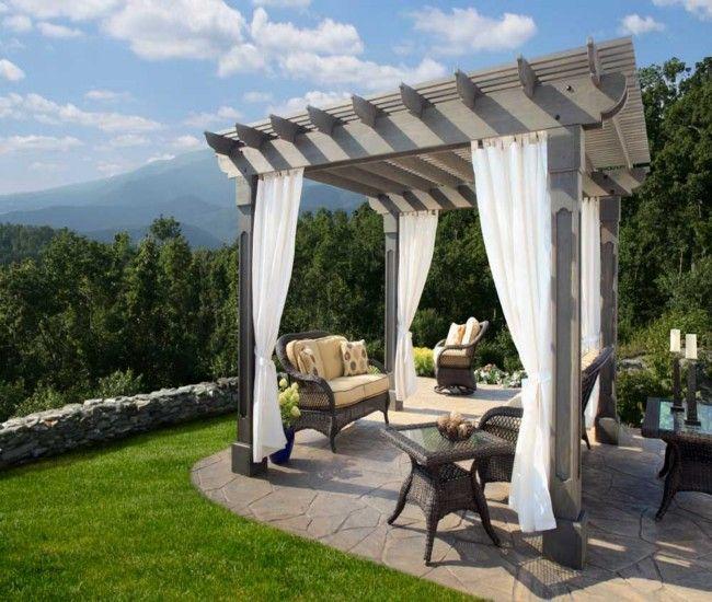 Pergola Designs With Curtains: Pergola Decoration With Fabric Curtains