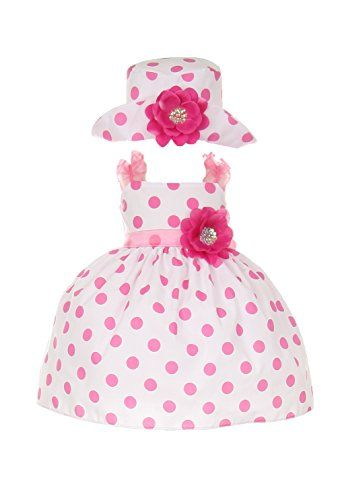 f8249216487 This CHARMING pink polka dots cotton dress with matching hat for baby girls  is perfect for  Easter