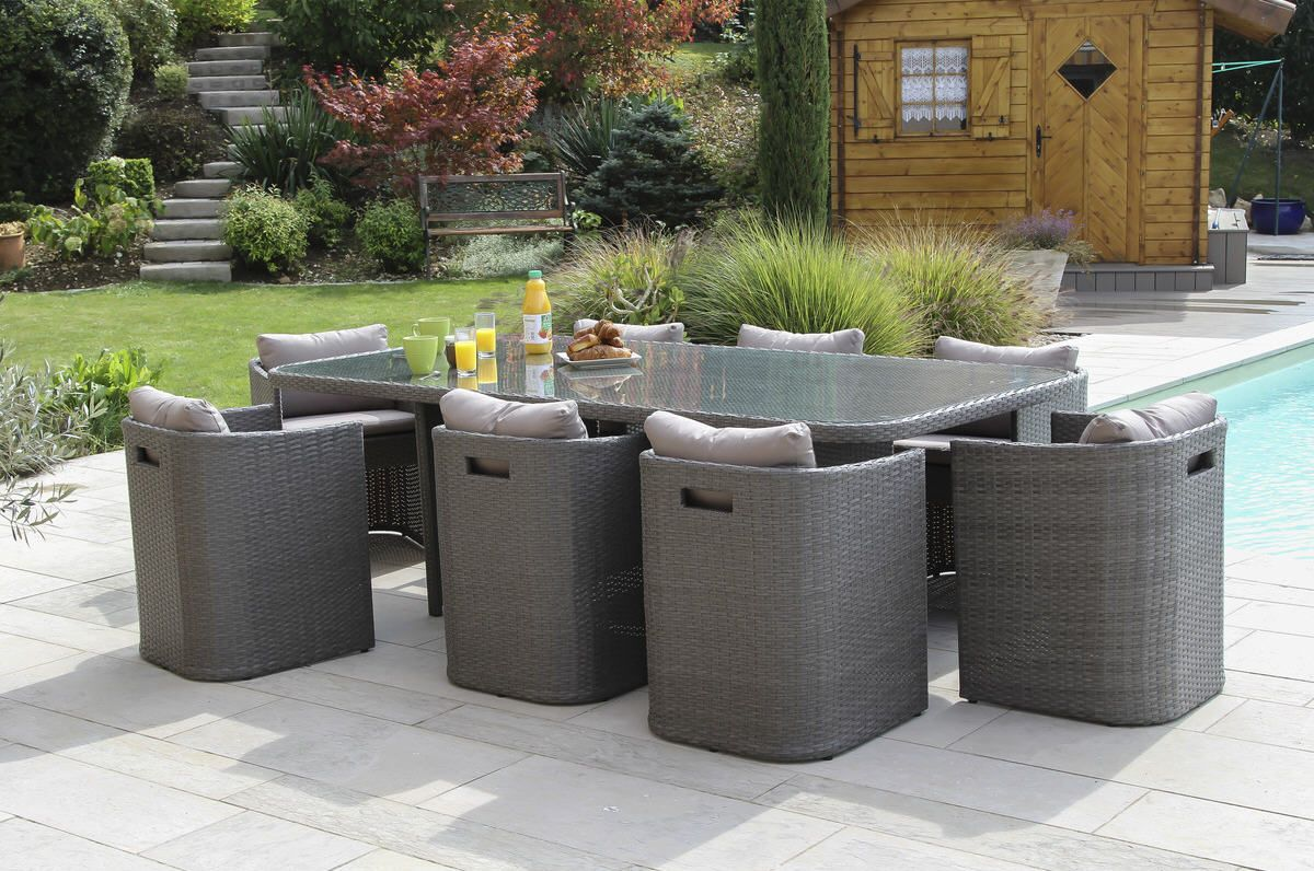 elixir salon repas bari 8 personnes r sine tress e coloris gris taupe prix promo salon de jardin. Black Bedroom Furniture Sets. Home Design Ideas
