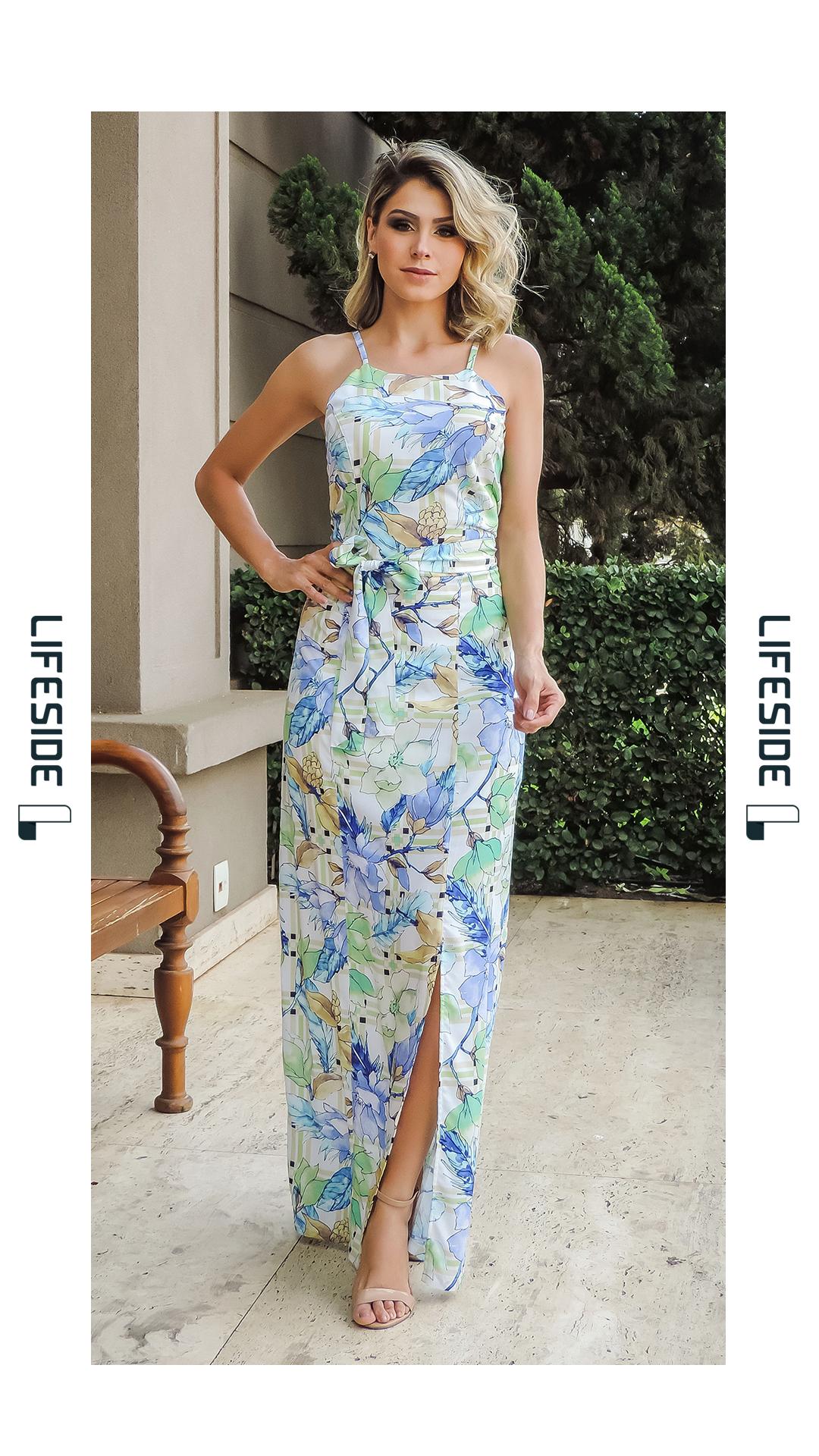 8cc3e4e9f LIFESIDE, Moda Feminina Primavera Verão 2019. Vestido longo estampado. Vestido  longo com festa