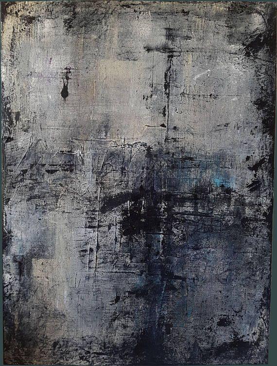 peinture acrylique et matiere tons gris