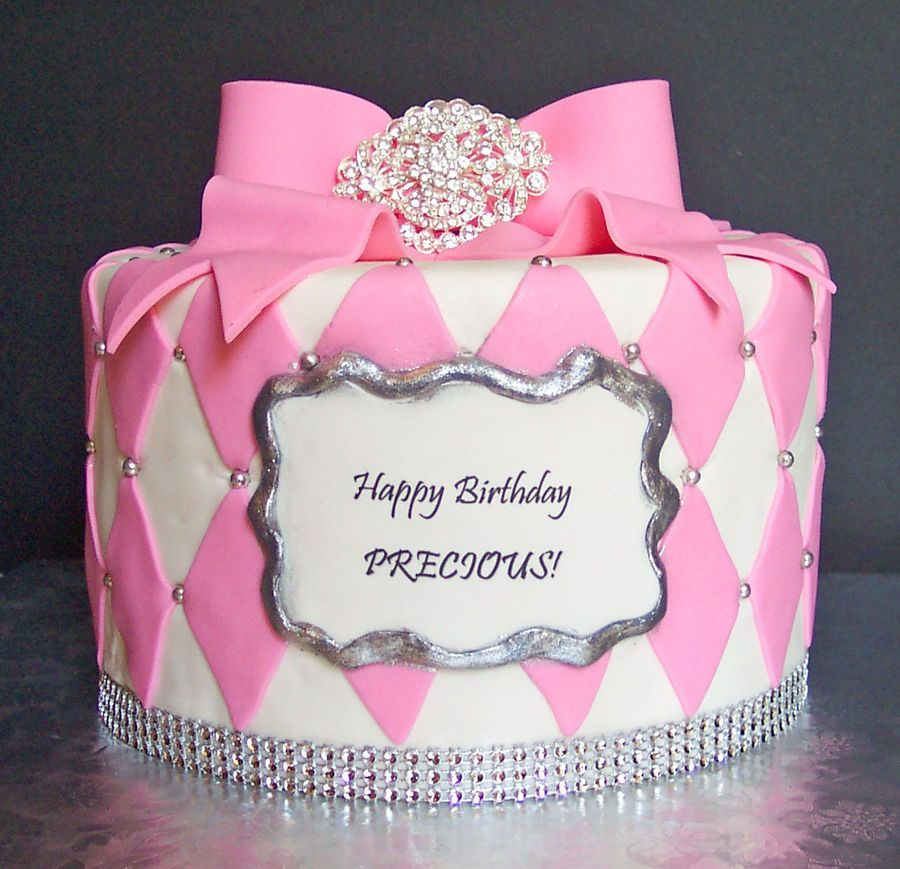 Fondant Cake Decorated With Fondant Bow Broach And Fondant Diamonds