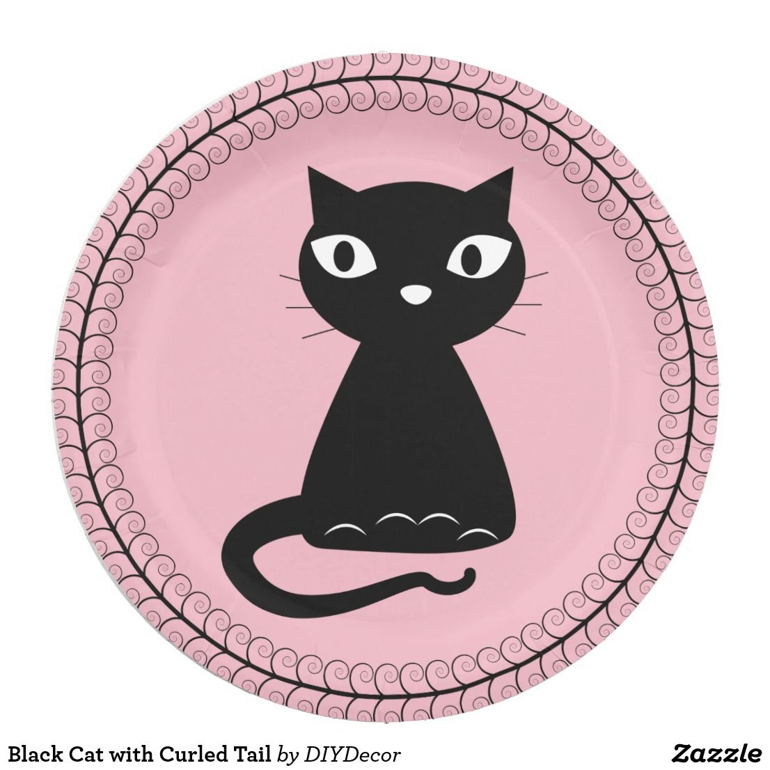Black Cat with Curled Tail Paper Plate Cute
