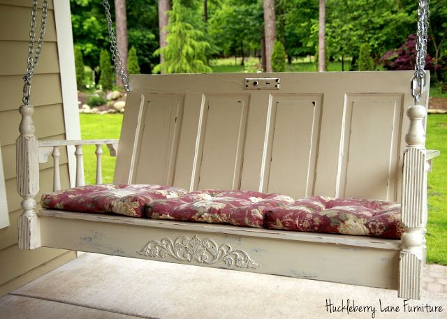 Handcrafted Porch Swing Made With Old Door, Table Legs And Salvaged Wood. Amazing Pictures