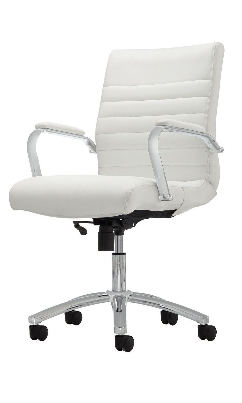 Realspace Modern Comfort Series Winsley Bonded Leather Managerial Mid Back Chair White Silver Item 907932