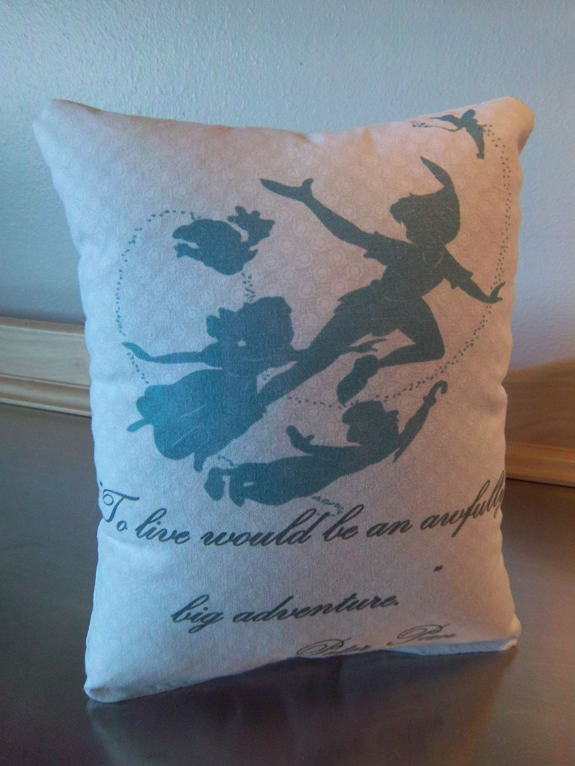 Peter pan nursery pillow handmade baby shower gift quote j m barrie