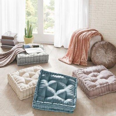 Aqua Square Floor Pillow Cushion (20″x20″), Blue