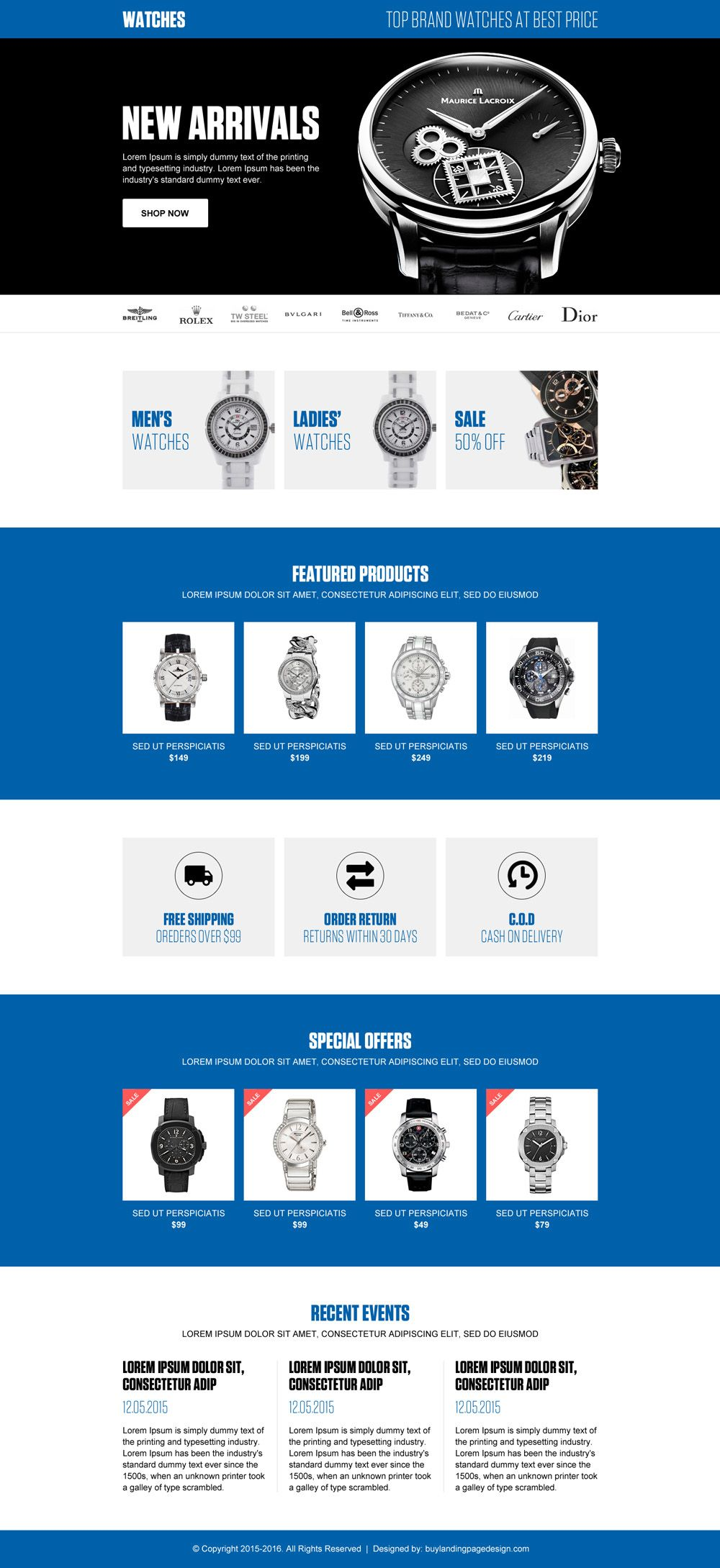 best online watch store ecommerce landing page design template ...