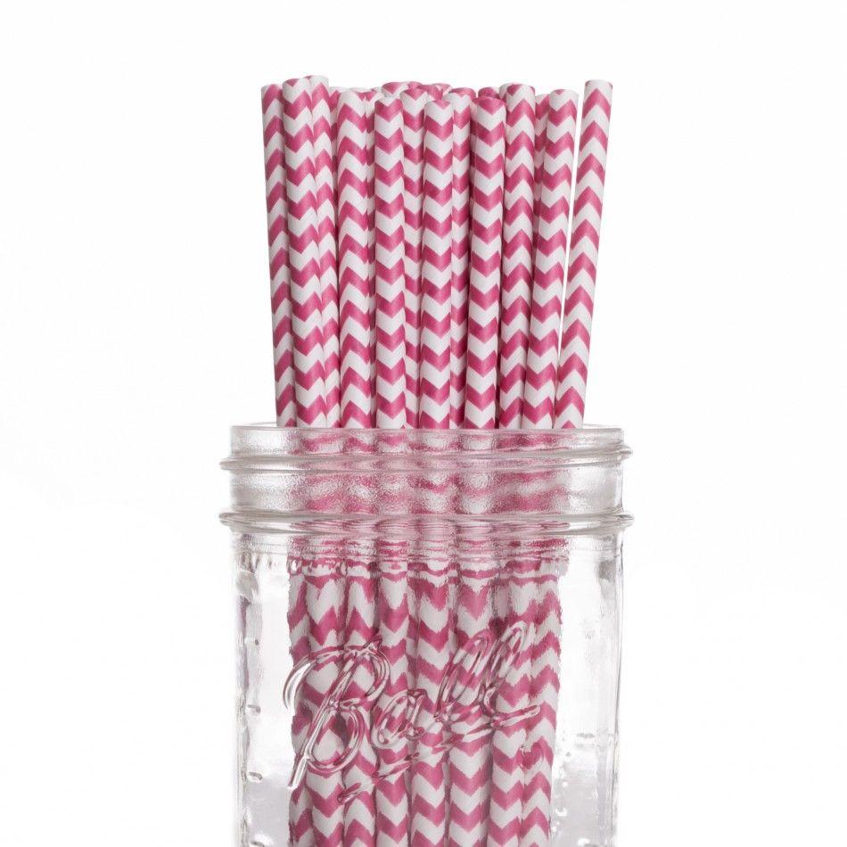 Vintage Paper Drinking Straws - Hot Pink Fuchsia Chevron Paper ...