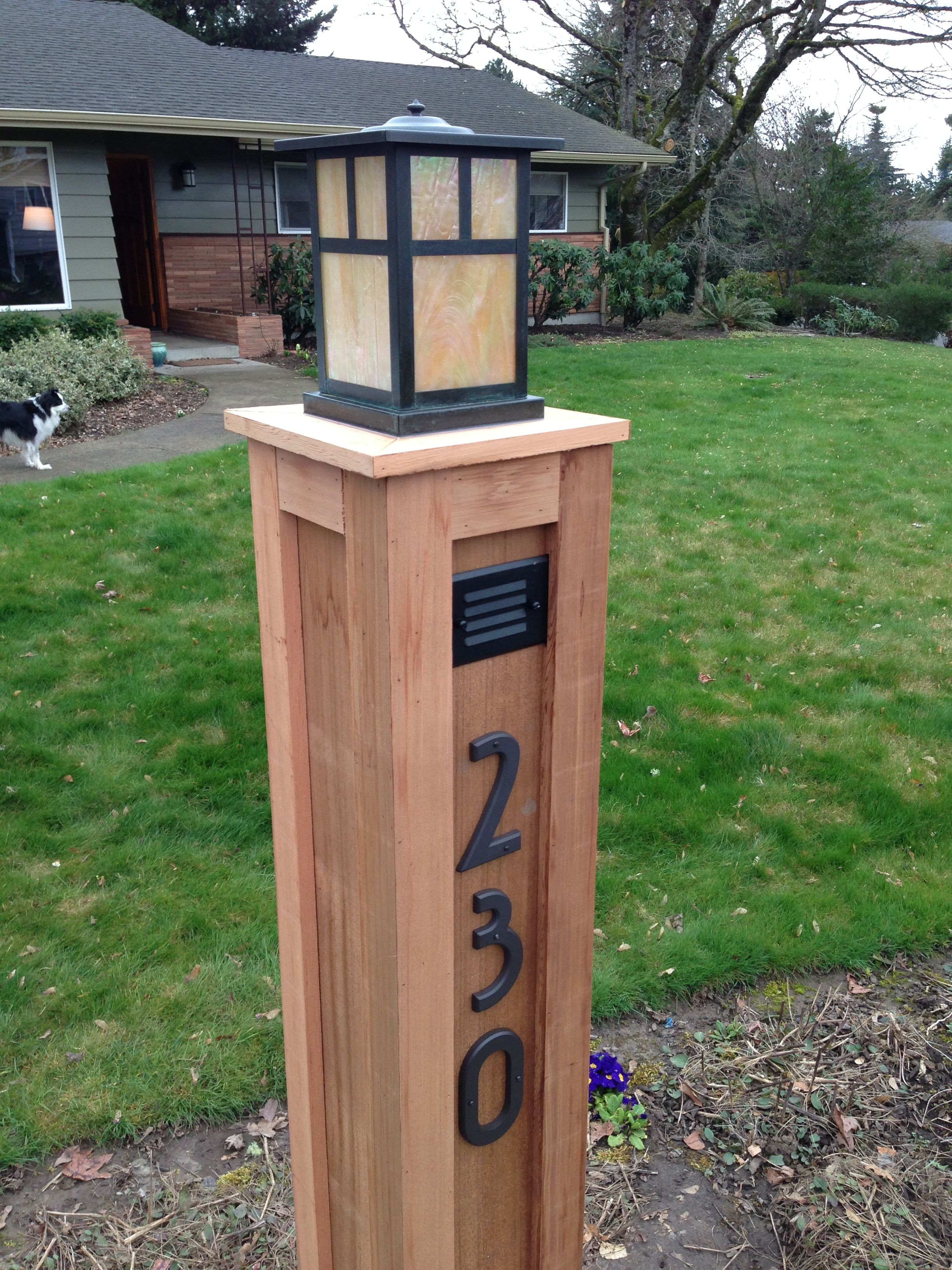 Images Of Craftsman Light Posts An Outlet For Christmas Lights And A Beautiful Craftsman Light On Top Craftsman House Numbers Craftsman Lighting Patio Lighting