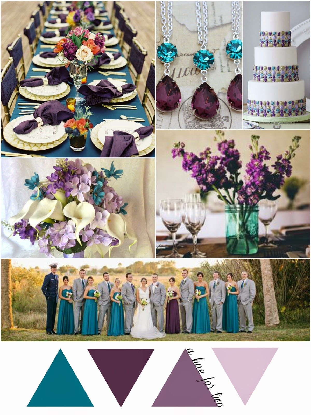 Teal, Eggplant and Lavender Early Fall Wedding A Hue For