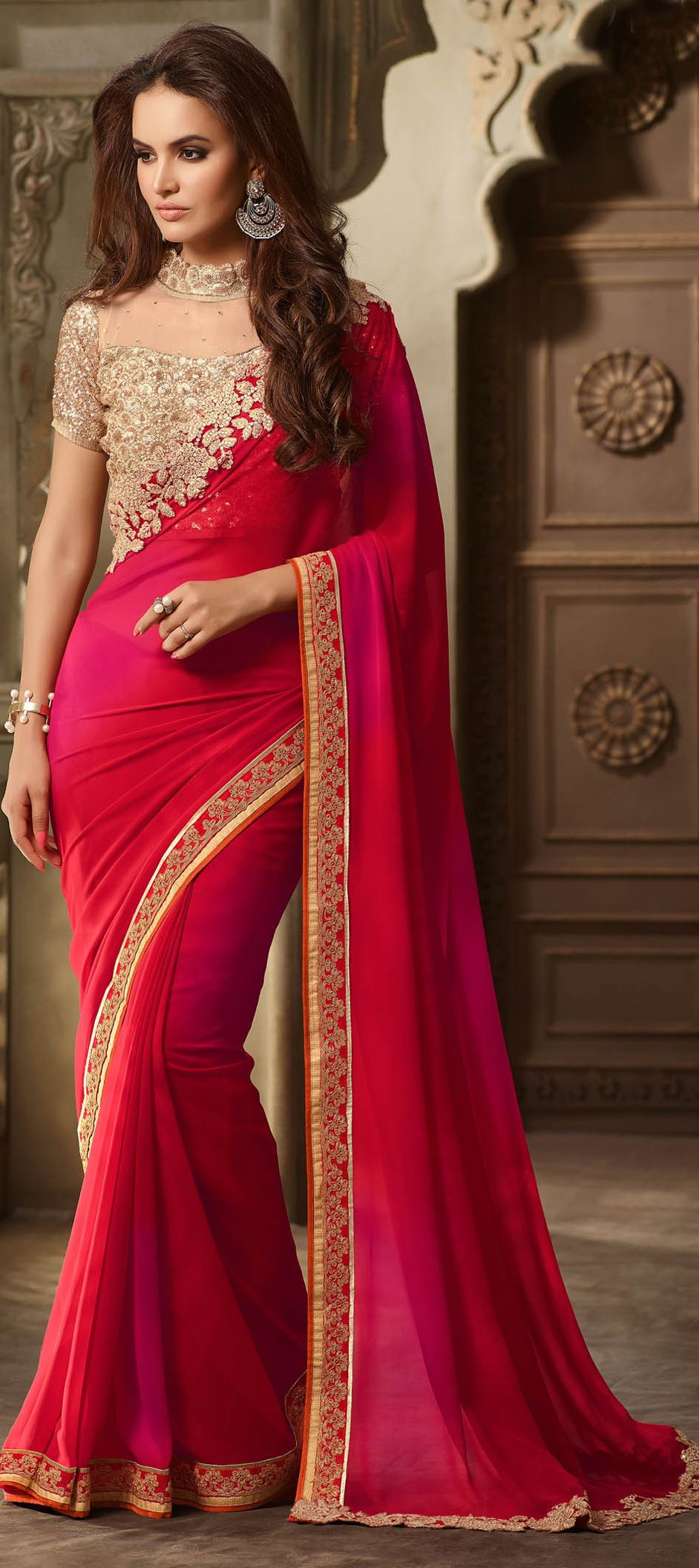 bdf41f6c055bf 709849  Pink and Majenta color family Embroidered Sarees