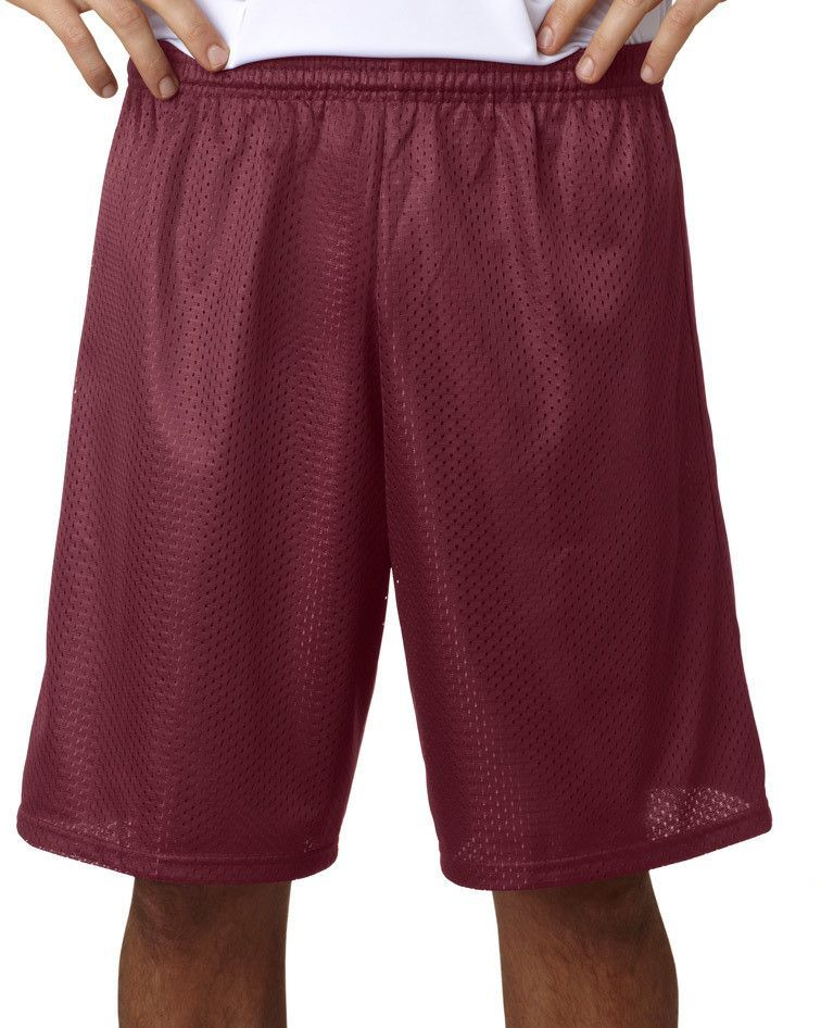 """a4 adult tricot-lined 9"""" mesh shorts - cardinal (xl)"""