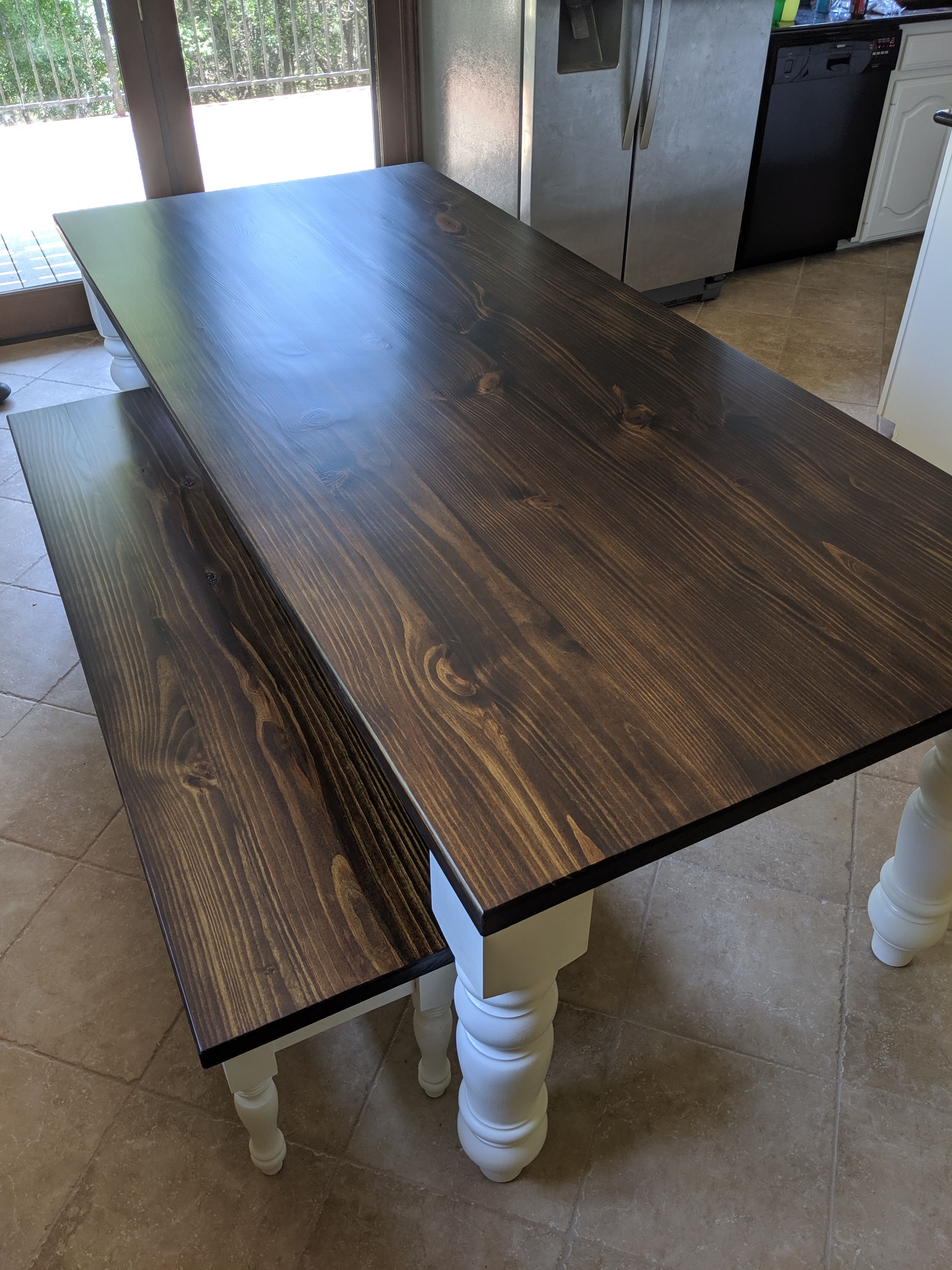 Painted Table Base creates Contrast with Solid Wood Top