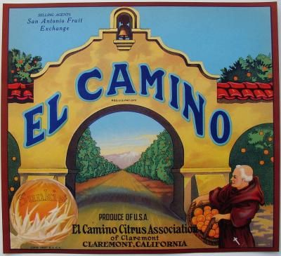 1920's Claremont, California EL CAMINO Vintage Claremont Orange Crate label