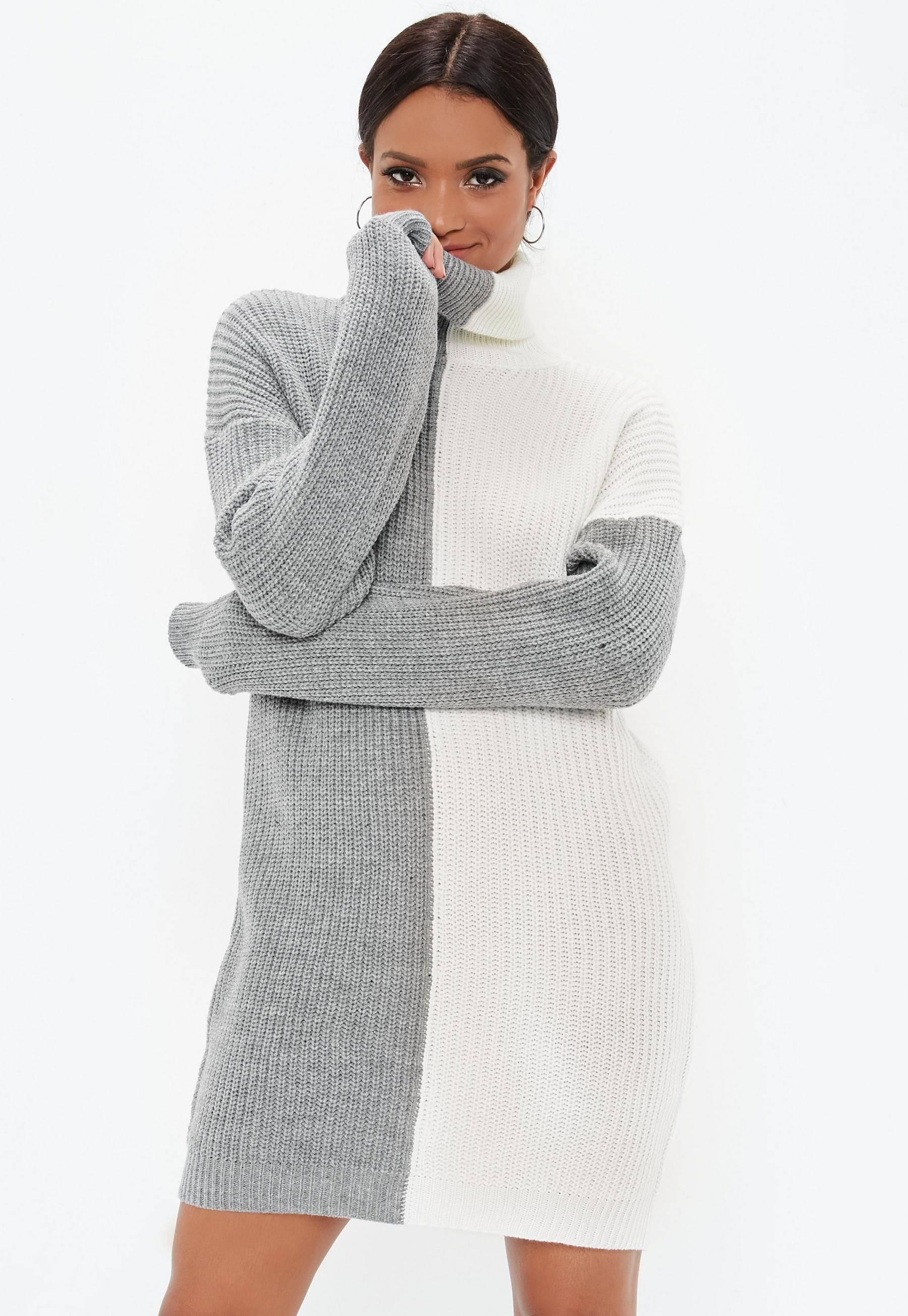 1e7659ed5531fc Missguided Tall Gray Turtle Neck Splice Sweater Dress in 2019 ...