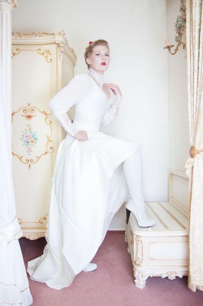 White Boots Wedding Dress