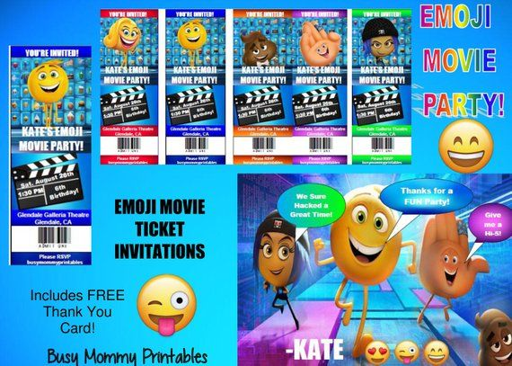 Emoji Movie Inspired Party Invitations- Emoji Movie Ticket Invites