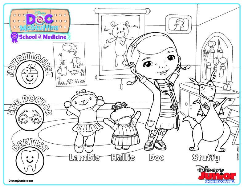 Doc McStuffins School of Medicine Coloring Page | Colorear, Dibujos ...