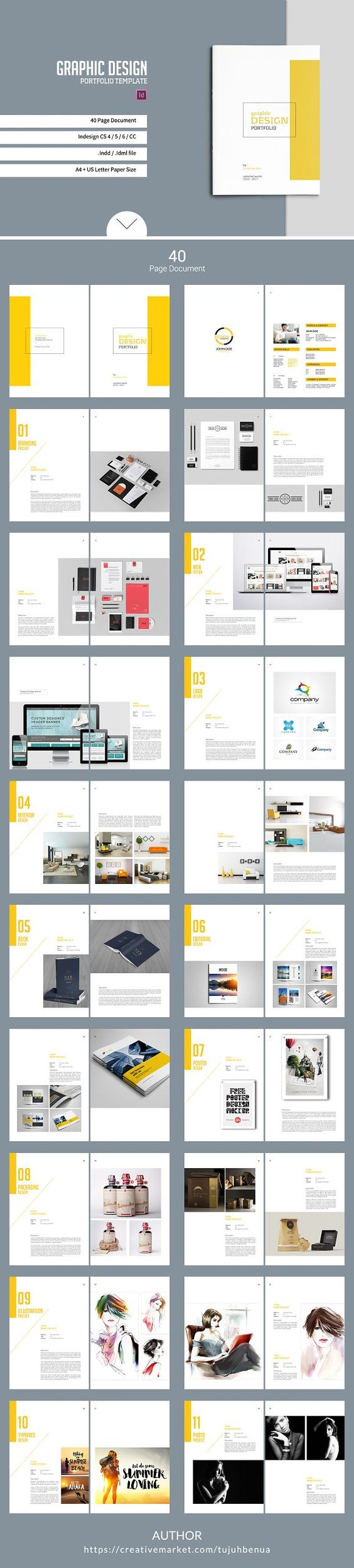 graphic design portfolio template by tujuhbenua on  creativemarket