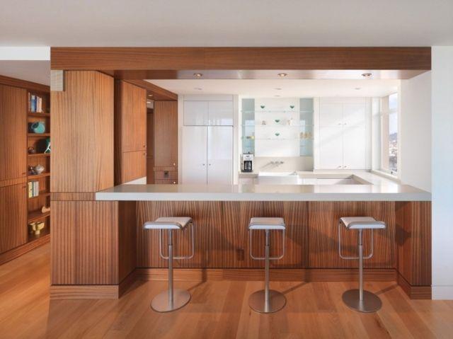 cuisine avec bar en bois - Recherche Google Cuisine ouverte - agencement de cuisine ouverte