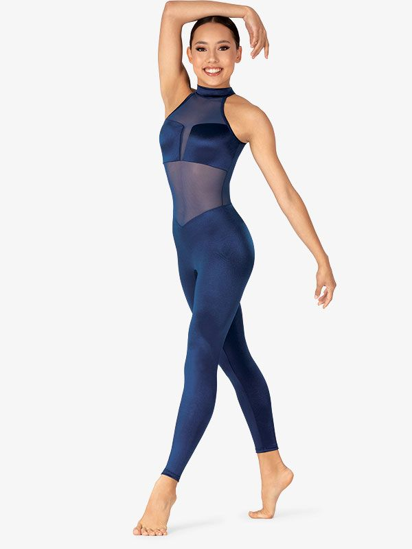 Womens Performance Satin Mock Neck Halter Unitard in 2020 ...