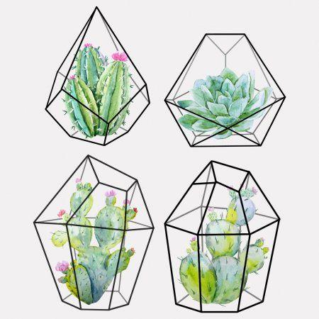 Watercolor cactus vector set - Stock Vector , #spon, #vector, #cactus, #Watercolor, #Vector #AD