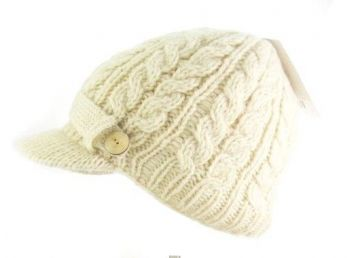 053f1fab578 Irish Hat - Wool Aran Ladies Irish Hat with Peak - White. This hand knit
