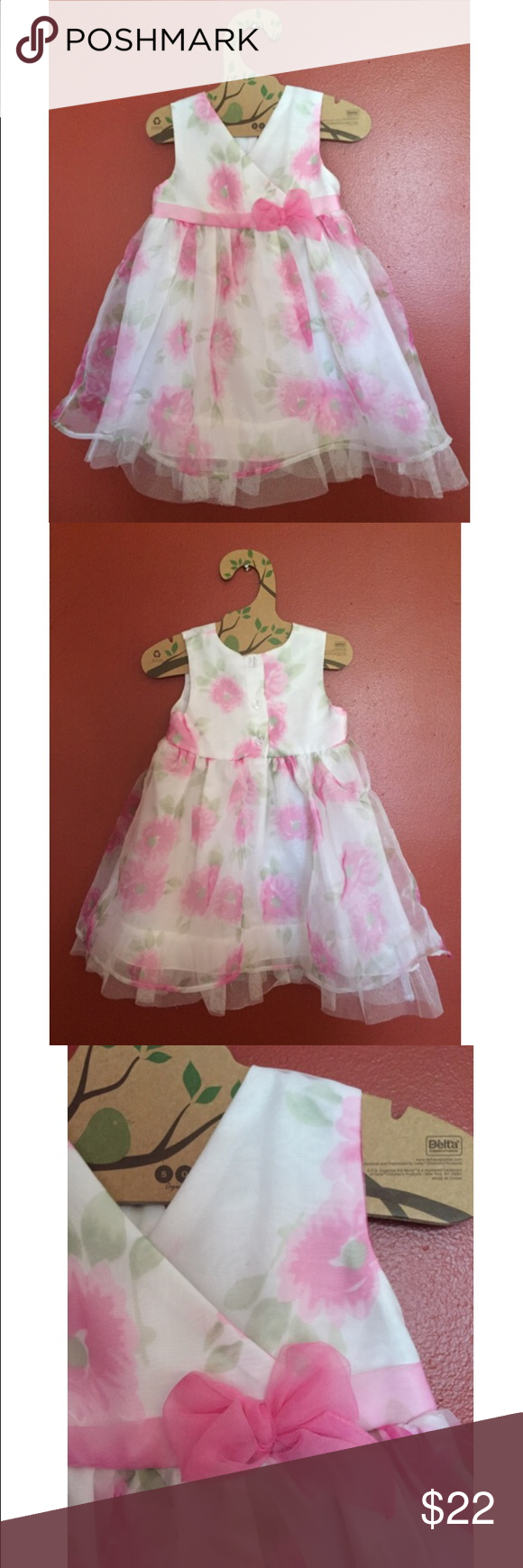 White dress with pink and green flowers Beautiful floral dress with tulle hemline. Nice gauzy overlay. Excellent condition, only worn once. George brand from Canada. George Dresses Formal