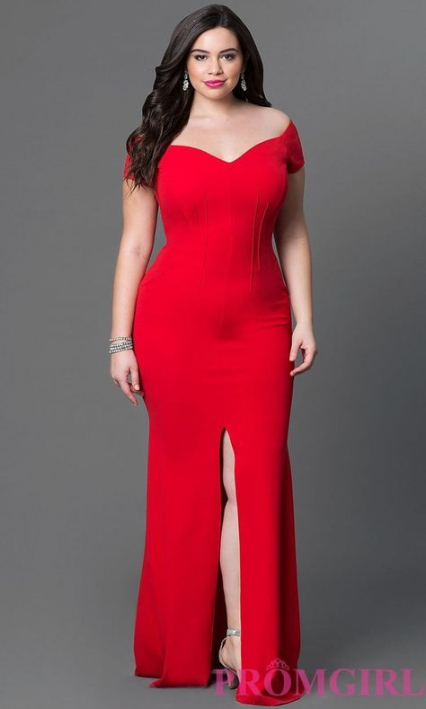 Long Red Plus Size Semi-Formal Dress