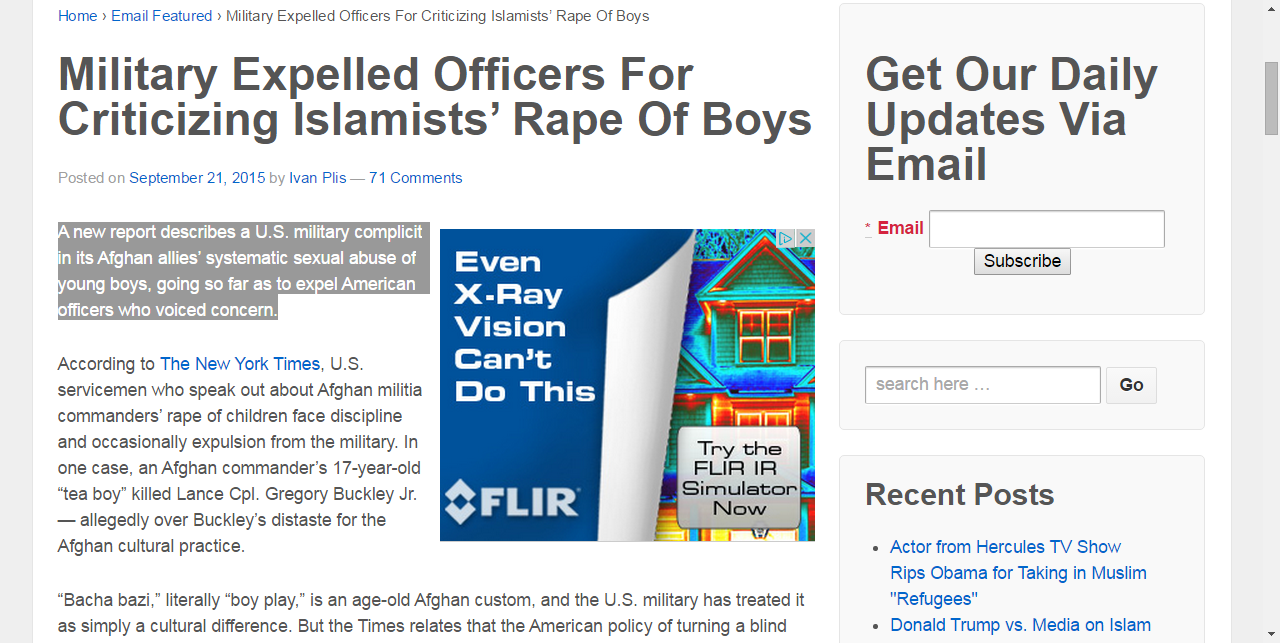 Military Expelled Officers For Criticizing Islamists' Rape Of Boys - Freedom Force