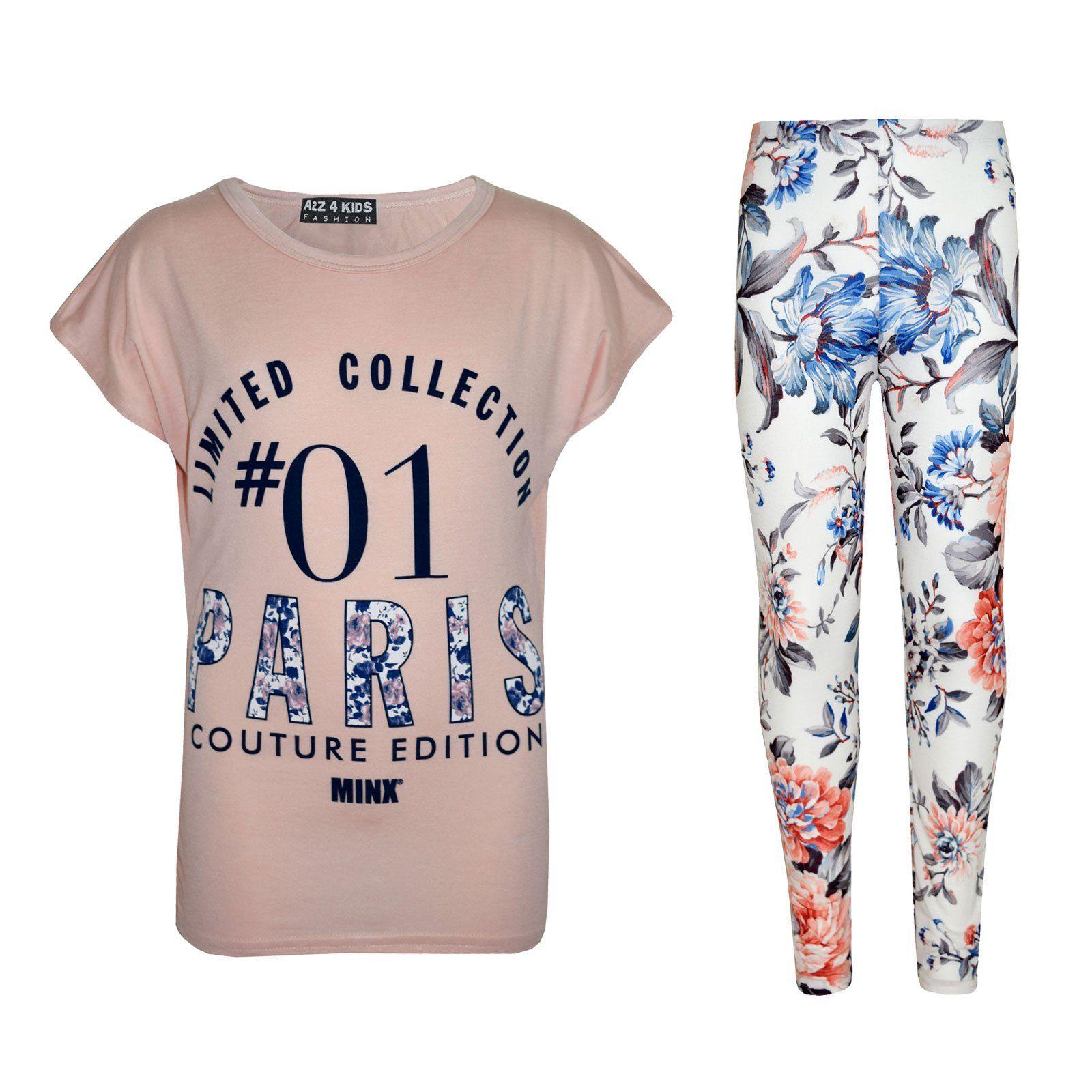 Girls Top Kids #01 Paris Print T Shirt Top /& Multi Leoaprd Legging Set 7-13 Year